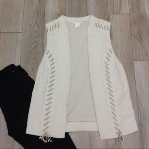 Club Monaco rayon vest with leather lace up ties